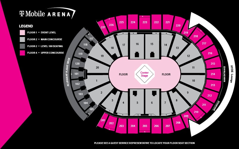 Concert Center Stage Seating Map